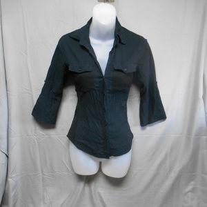 Love Tree button black blouse women's size small